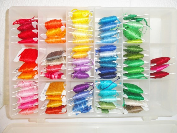 The Color Caddy, Case and Lot of Embroidery Floss, 72 Cards,  Embroidery Floss by C L Crafts Co