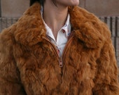 RESERVED for JENNSKE - Vintage 70s Disco Jacques Aran Chestnut RABBIT Fur Large Lapels Zip-Up Bomber Jacket Coat - M Med