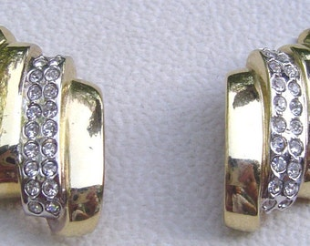 GUY LAROCHE Paris Vintage Bold Gold Tone & Crystal Rhinestone Clip EARRINGS