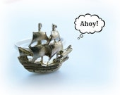 Pirate Ship Ring - Nautical Sterling Silver Ring - Silver and Brass Stack Ring
