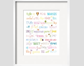 Three Little Birds  Print Song Quote in Rainbow Colors 11x14 by YassisPlacewall art