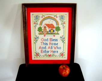 On Sale Vintage Handmade Cross Stitch God Bless Wall Art Embroidery  Online Vintage, vintage clothing, home accents, vintage dress