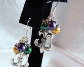 Fleur De Lis Mardi Gras Earrings with Green, Purple, & Yellow Glass Pearls