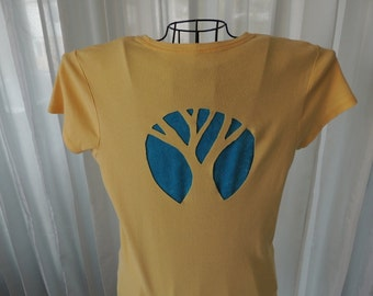 Yellow Slashed Tshirt, Cut Out Tree Ladies Top, Redesigned Shirt, Tee Shirt, T Shirt, Cut Out Tshirt, Cut Out Shirt, Cut Out Top