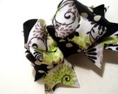 Girls Boutique Layered Hair Bow - Lime Swirl - Lime Green, Black, Floral, Swirl, Elegant, Spring
