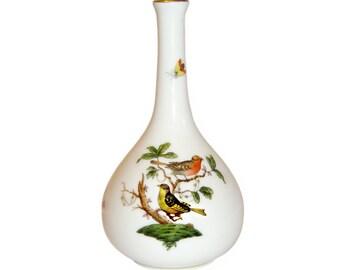 Herend Bud Vase, Rothschild Bird Design, Handpainted Porcelain, Vintage