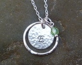 "Initial Necklace - Hand Stamped 1/2"" Sterling Silver Disc with Fine Silver Eternity Circle and Pearl or Birthstone"