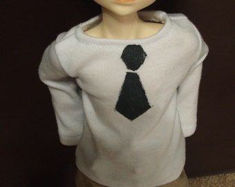 MARKDOWN Faux Tie Black and White BJD MSD 45cm Shirt