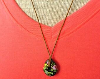 Rustic Hand Painted Mom pendant - Romantic Roses and hearts - Spain Natural Mediterranean Stone - Boho Folkart Pendant - Waxed Hemp Cord