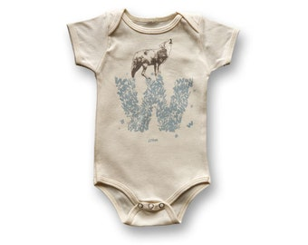 "Personalized ""W"" for Wolf - Organic Baby Bodysuit"