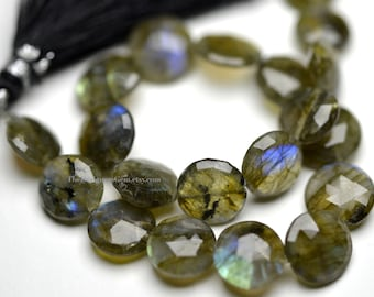Labradorite Flashing Faceted Coin 10 to 11mm - 1/2 STRAND
