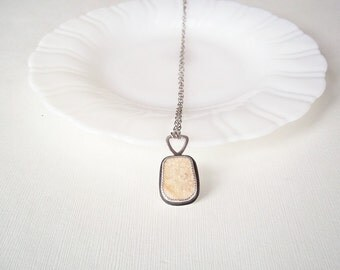 Beach Jewelry. Peach Pottery Shard in Sterling Silver Necklace. One of a Kind Jewelry