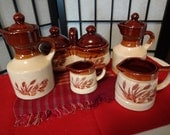 Flower and Wheat Pottery Vintage Condiment Set