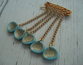 1960's Gold Barrette with Turquoise Glass Dangles