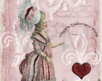 Valentine Gift Tag, Marie Antoinette Paris Vintage Original Design Tags Digital Download You Print ECS, Instant Download