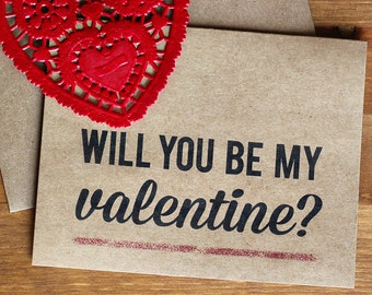 Valentine Card  - Will You Be My Valentine Eco Friendly Valentine's Day Card