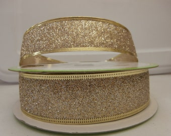 5 yards of 1 1/2 inch Gold GLITTER with Gold Trim Ribbon
