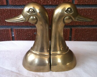 Vintage Brass Duck Bookends
