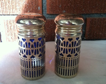Vintage Blue Glass Shakers