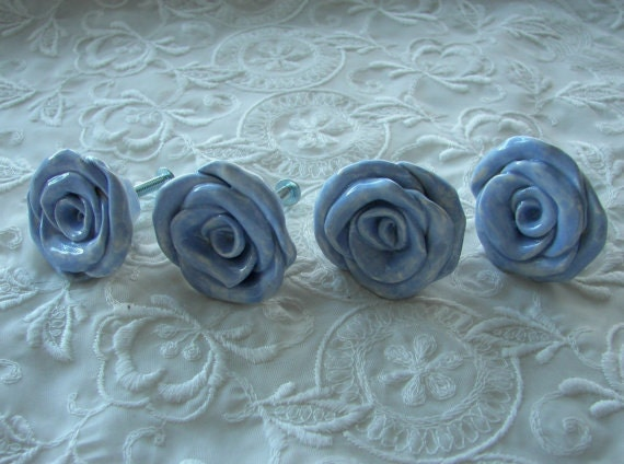 Blue Rose Knobs Drawer Pulls Home Decor