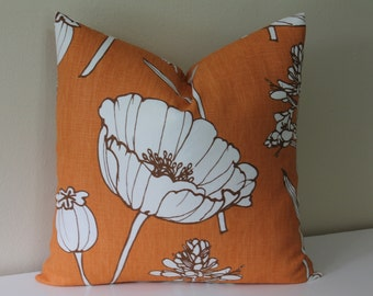 "BOTH SIDES - Thom Filicia for Kravet - Poppyfield  in Tangelo - 18"" x 18"" or 20"" x 20"" Decorative Designer Pillow Cover"