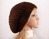 Hand knit slouch hat - brown tones - Chunky Knit Hat for Men Women handmade by Sandy Coastal Designs - ready to ship