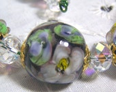 trappedinabead Lampwork 14 Handmade Floral Glass Beads