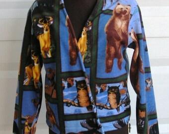 Small Wild Forest Animal Print Women or Teen Girl Fleece Jacket