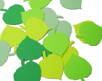 100 Mixed Green Leaf punch die cut cutouts confetti scrapbook embellishments - No959