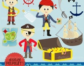 buy2get1 pirate clipart set - ahoy me hearties boys