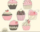 buy2get1 cupcakes clipart set - doodle cupcakes pink and brown 1