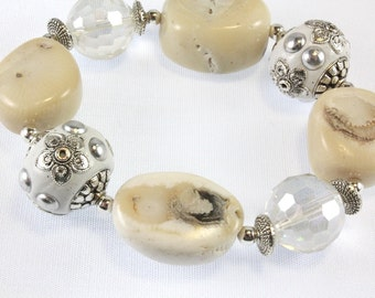 White Coral Stretch Bracelet, Kashmiri Beads, Crystals, Mothers Day Gift
