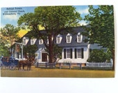 Vintage linen postcard Williamsburg  Raleigh Tavern with  trees horse and carriage in Virginia