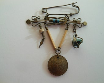 Vintage Metal Novelty Pin  Brooch with blue stone  beads  dangles and coin