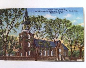 Vintage linen postcard Williamsburg  Virginia  Bruton Parish Church oldest episcopal church
