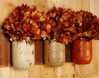 Fall's Bounty Wall Decor mason jar trio on dark stained recycled board Fall Autumn and Summer decor