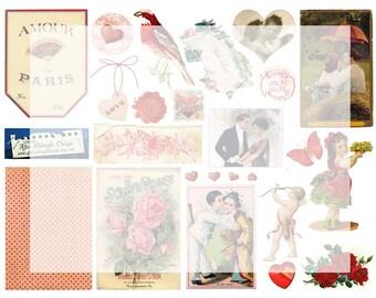 Digital Collage Sheet No 03 Vintage Valentine Red Images