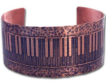 Piano Blues I - Etched copper cuff - Memphis Jewelry