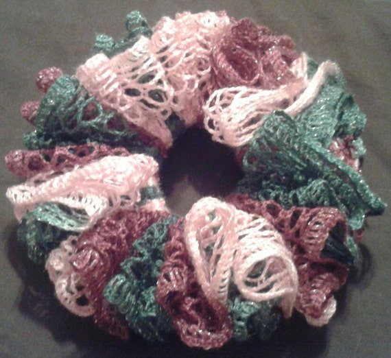 Ruffle Crochet Hair Scrunchie Ready-to-Ship by PursuingCraftiness