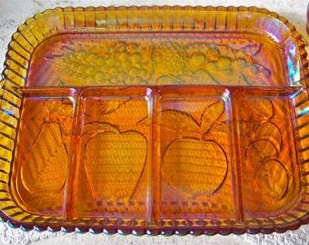 Vintage Carnival Glass Fruit Platter Amber Serving Plate Etched Fruit Design 1960s
