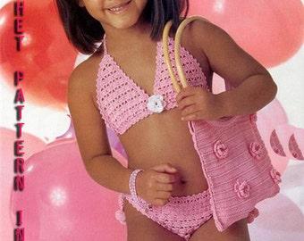 Crochet swimsuit Pattern for Girl of 3-4 years old Pink bikini .Handbag pattern included