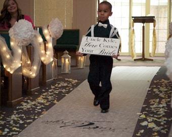 Wedding Signs, Uncle Here comes your Bride sign..Ring Bearer Signs,Flower girl sign,photo prop sign:)