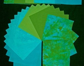 5 x 5 Inch Precut Quilt Squares, AVOCADO BLUES, 72 Hand Dyed CharmSquares, Pre-Shrunk and Colorfast
