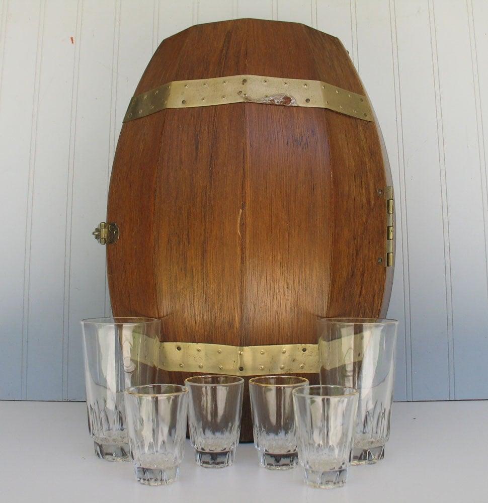Vintage Secret Bar Whiskey Barrel With Glasses