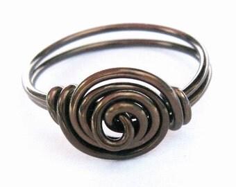 Antique Brass Rosette Swirly Ring - Jewelry
