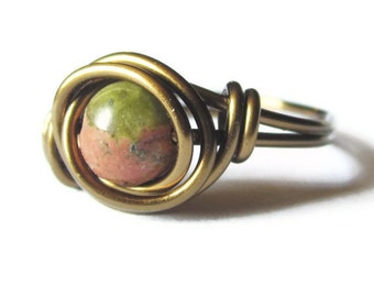 Bohemian Ring Unakite and Antique Brass Boho Jewelry -CIJ -Christmasinjuly - Christmas in July