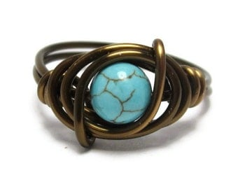 Turquoise Rings - Boho Jewelry - Wire Wrapped Gemstone Ring - Custom size 3 - 15