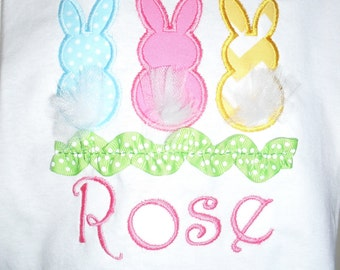 Easter Bunnies with tulle and ribbon rick rack