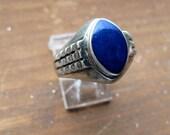 Lapis Lazuli Ring, Sterling Silver, from Peshawar, Size 8-9