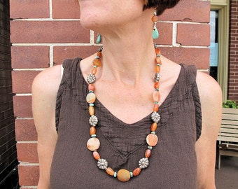 Carnelian Necklace and Earrings with Carnelian and Turquoise Beads by the Old Silk Route